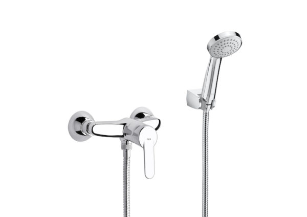 MONOMANDO VICTORIA A5A2025C02 Mezclador monomando exterior para ducha con ducha de mano, flexible de 1,50 m. y soporte de ducha fijo. Referencia:A5A2025C02